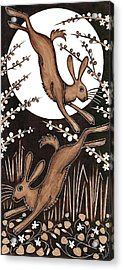 March Hares, 2013 Woodcut Acrylic Print by Nat Morley