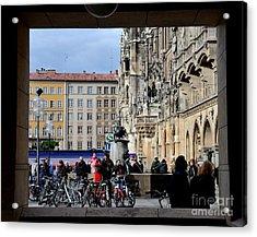 Mareinplatz And Glockenspiel Munich Germany Acrylic Print by Imran Ahmed