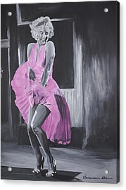 Marilyn In Pink Acrylic Print by Genevieve Glenn