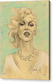 Marilyn In White Acrylic Print by P J Lewis
