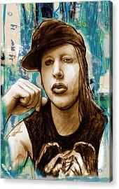 Marilyn Manson Stylised Pop Art Drawing Potrait Poser Stylised Pop Art Drawing Potrait Poser Acrylic Print by Kim Wang