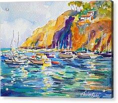 Marina At Catalina Acrylic Print by Therese Fowler-Bailey