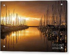 Marina Golden Sunset Acrylic Print by Mike Reid