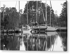 Marina In Black And White Acrylic Print by Carolyn Ricks
