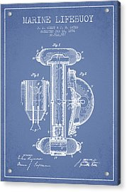 Marine Lifebuoy Patent From 1894 - Light Blue Acrylic Print by Aged Pixel