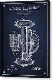 Marine Lifebuoy Patent From 1894 - Navy Blue Acrylic Print by Aged Pixel