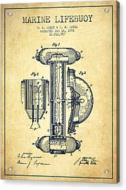 Marine Lifebuoy Patent From 1894 - Vintage Acrylic Print by Aged Pixel
