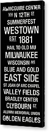 Marquette College Town Wall Art Acrylic Print by Replay Photos
