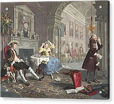 Marriage A La Mode, Plate II, The Tete Acrylic Print by William Hogarth