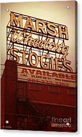 Marsh Stogies Sign Acrylic Print by Jim Zahniser