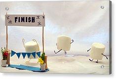 Marshmallow Marathon Acrylic Print by Heather Applegate