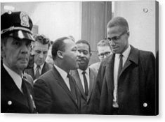 Martin Luther King Jnr 1929-1968 And Malcolm X Malcolm Little - 1925-1965 Acrylic Print by Marion S Trikoskor