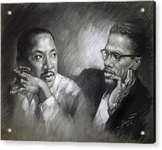 Martin Luther King Jr And Malcolm X Acrylic Print by Ylli Haruni