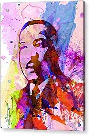 Martin Luther King Jr Watercolor Acrylic Print by Naxart Studio