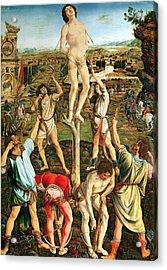 Martyrdom Of St. Sebastian, 1475 Oil On Poplar Acrylic Print by Antonio Pollaiuolo