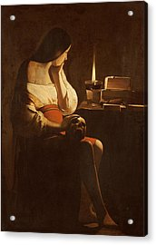 Mary Magdalene With A Night Light, C.1640-35 Oil On Canvas Acrylic Print by Georges de la Tour