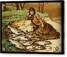 Mary Millais With A Huge Catch Of Salmon Acrylic Print by Celestial Images