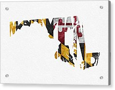 Maryland Typographic Map Flag Acrylic Print by Ayse Deniz