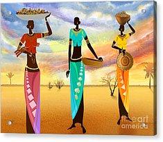 Masai Women Quest For Grains Acrylic Print by Bedros Awak