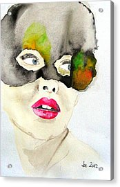 Mask In Watercolor Acrylic Print by Jacqueline Schreiber