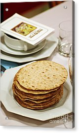 Matza And Haggada For Pesach Acrylic Print by Ilan Rosen