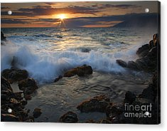 Maui Sunset Spray Acrylic Print by Mike  Dawson