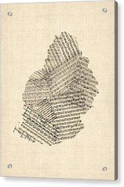 Mauritius Old Sheet Music Map Acrylic Print by Michael Tompsett