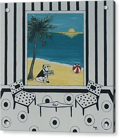 Max And The Miami Herald Acrylic Print by Inge Lewis
