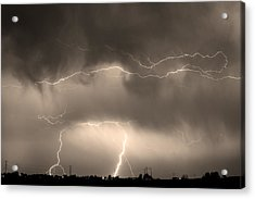 May Showers - Lightning Thunderstorm Sepia 5-10-2011 Acrylic Print by James BO  Insogna