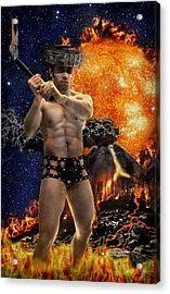 Mayan Fire God Acrylic Print by John Clum