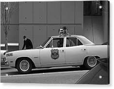 Mayberry Meets Seattle - Vintage Police Cruiser Acrylic Print by Jane Eleanor Nicholas