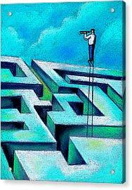 Maze Acrylic Print by Leon Zernitsky