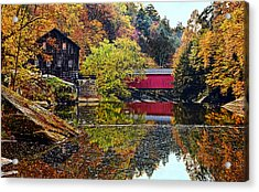 Mcconnell's Mill And Covered Bridge Acrylic Print by Marcia Colelli
