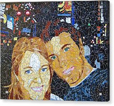Me And Santi In Times Square Acrylic Print by Rachel Van der pol