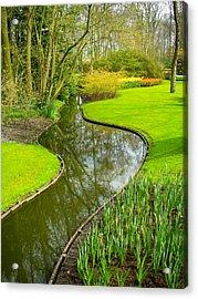 Meandering Stream Through Keukenhof Gardens Near Lisse Netherlands Acrylic Print by Robert Ford