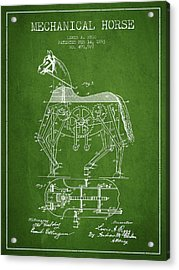 Mechanical Horse Patent Drawing From 1893 - Green Acrylic Print by Aged Pixel