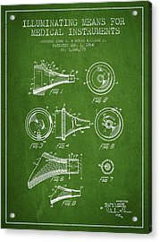 Medical Instrument Patent From 1964 - Green Acrylic Print by Aged Pixel