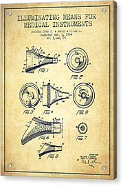 Medical Instrument Patent From 1964 - Vintage Acrylic Print by Aged Pixel