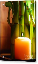 Meditation Candle And Bamboo Acrylic Print by Olivier Le Queinec