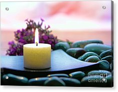 Meditation Candle Acrylic Print by Olivier Le Queinec