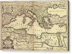 Mediterranean Sea Acrylic Print by Library Of Congress, Geography And Map Division