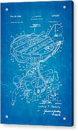 Meditz Helicopter Device Patent Art 1969 Blueprint Acrylic Print by Ian Monk