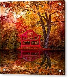 Meet Me At The Pond Acrylic Print by Debra and Dave Vanderlaan