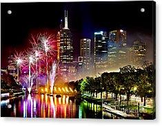 Melbourne Fireworks Spectacular Acrylic Print by Az Jackson