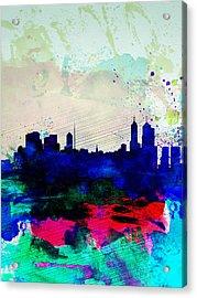Melbourne Watercolor Skyline 2 Acrylic Print by Naxart Studio