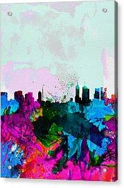 Melbourne Watercolor Skyline Acrylic Print by Naxart Studio