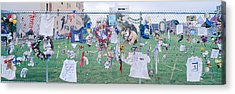 Mementos On Chain Link Fence, Memorial Acrylic Print by Panoramic Images