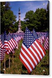 Memorial Day Flag Garden Acrylic Print by Rona Black