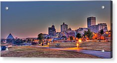 Cityscape - Skyline - Memphis At Dawn Acrylic Print by Barry Jones