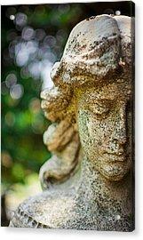 Memphis Elmwood Cemetery - Girl With Cross Close-up Acrylic Print by Jon Woodhams